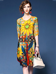 cheap -Women's Going out Chiffon Dress - Floral Print V Neck Summer Red Yellow XL XXL XXXL / Loose