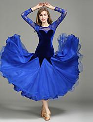 cheap -Ballroom Dance Dresses Women's Performance Lace / Tulle / Velvet Lace / Splicing Long Sleeve Natural 1 x User's Manual / Dress
