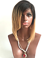 cheap -Remy Human Hair Full Lace Wig Side bangs Rihanna style Brazilian Hair Straight Ombre Wig 130% Density with Baby Hair Ombre Hair Natural Hairline African American Wig 100% Hand Tied Women's Short