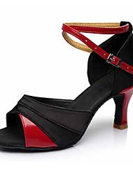 cheap -Women's Dance Shoes Leatherette / Fabric Latin Shoes Buckle Sandal / Heel Cuban Heel Customizable Black / Gold / Black / Silver / Black / Red / Performance / EU40