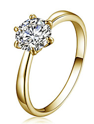 cheap -Women's Ring Belle Ring Crystal Gold Crystal Zircon Cubic Zirconia Ladies Simple Style Fashion Wedding Party Jewelry Solitaire Round Cut Simulated Star / Imitation Diamond / Austria Crystal / Alloy