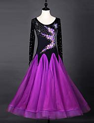 cheap -Ballroom Dance Dresses Women's Performance Chinlon / Organza Crystals / Rhinestones Long Sleeve Dress