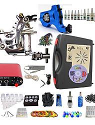 cheap -BaseKey Tattoo Machine Starter Kit - 2 pcs Tattoo Machines with 10 x 5 ml tattoo inks Mini power supply Case Included 1 steel machine liner & shader, 1 rotary machine liner & shader