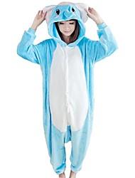 cheap -Adults' Kigurumi Pajamas Elephant Onesie Pajamas Coral fleece Blue Cosplay For Men and Women Animal Sleepwear Cartoon Festival / Holiday Costumes