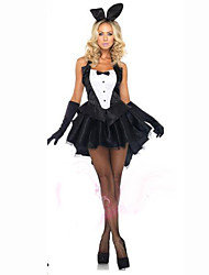 cheap -Maid Costume Bunny Girl Cosplay Costume Adults' Women's Carnival Festival / Holiday Cotton Black Female Carnival Costumes Solid Colored