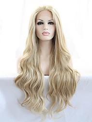 Недорогие -Синтетические кружевные передние парики Естественные волны Стиль Лента спереди Парик Блондинка Блондинка Искусственные волосы 18-26 дюймовый Жен. Жаропрочная Природные волосы Блондинка Парик Длинные