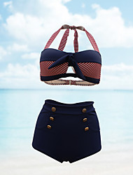 cheap -Women's Retro High Waist Plus Size Vintage Halter Neck Navy Blue Bandeau High Waist Bikini Swimwear - Striped XL XXL XXXL Navy Blue
