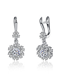 cheap -Women's Diamond Cubic Zirconia tiny diamond Drop Earrings Ladies Unique Design Dangling Sterling Silver Zircon Platinum Plated Earrings Jewelry Silver For Christmas Gifts Birthday Business Gift Daily