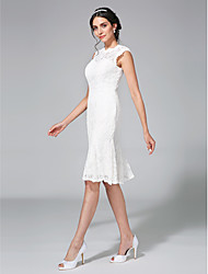 cheap -Sheath / Column Bateau Neck Knee Length Lace Regular Straps Little White Dress Made-To-Measure Wedding Dresses with Lace 2020