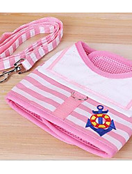 cheap -Dog Harness Leash Adjustable / Retractable Stripes Fabric Red Blue Pink