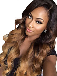 cheap -Remy Human Hair Glueless Lace Front Lace Front Wig Beyonce style Brazilian Hair Loose Wave Ombre Wig 130% 180% Density with Baby Hair Ombre Hair Natural Hairline African American Wig 100% Hand Tied