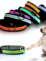 cheap -Cat Dog Collar Light Up Collar Reflective LED Lights Adjustable / Retractable Batteries Included Electronic / Electric Strobe / Flashing Safety Rainbow Solid Colored Plastic Nylon Yellow Red