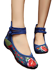 cheap -Women's Oxfords Espadrille Flat Heel Round Toe Buckle / Flower Canvas Comfort / Novelty / Embroidered Shoes Walking Shoes Spring / Summer Black / Navy Blue / Green / EU42