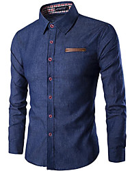 cheap -Men's Daily Slim Shirt - Solid Colored Basic Classic Collar Blue / Long Sleeve / Spring / Summer