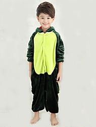 cheap -Kid's Kigurumi Pajamas with Slippers Dinosaur Animal Onesie Pajamas Coral fleece Green Cosplay For Boys and Girls Animal Sleepwear Cartoon Festival / Holiday Costumes