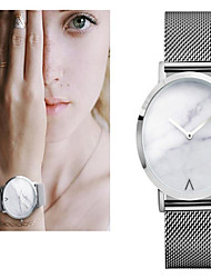 cheap -Women's Marble Wrist Watch Stainless Steel Silver / Gold / Rose Gold 30 m Large Dial Marble Analog Ladies Charm Vintage Dot Casual - White / Gold White / Silver Rose Gold / White