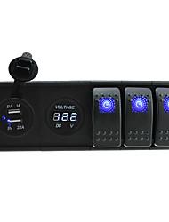 Недорогие -DC 12V / 24v светодиодный цифровой 3.1а Dual USB зарядное устройство вольтметра розетка с тумблерами перемычек и держатель корпуса