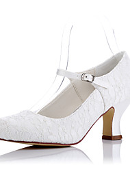 cheap -Women's Heels Chunky Heel Round Toe Tulle Comfort Spring / Summer Ivory / Wedding / Party & Evening / EU42