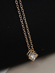 cheap -Women's Pendant Necklace Long Necklace Fashion everyday Rhinestone Imitation Diamond Alloy Gold Silver Necklace Jewelry For Casual