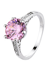 cheap -Women's Ring Crystal Amethyst Black Rose Pink Zircon Cubic Zirconia Silver Plated Ladies Fashion Daily Jewelry Solitaire Round Cut Flower
