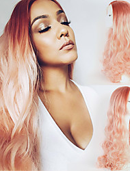 abordables -Perruque Lace Front Synthétique Ondulation naturelle Ondulation naturelle Lace Frontale Perruque Rose Long Très long Rose Cheveux Synthétiques Femme Ligne de Cheveux Naturelle Rose OUO Hair