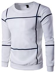abordables -Homme Grandes Tailles Sports Col Arrondi Manches Longues Actif / Basique Sweatshirt Rayé / Bloc de Couleur / Printemps / Automne