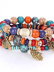 cheap -Women's Bead Bracelet Beaded Layered Stacking Stackable Ball Rainbow Cheap Ladies Personalized Natural Fashion Balance of the Power Acrylic Bracelet Jewelry Rainbow / Red / Blue For Christmas Gifts