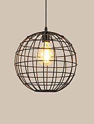 cheap -1-Light Vintage Globe Pendant Lights Loft Black Birdcage Dining Room Pendant Lights Bar Clothing Store Light Fixture