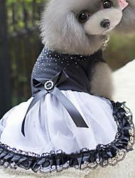 cheap -Cat Dog Dress Dog Clothes White / Black Costume Cotton Princess S M L XL