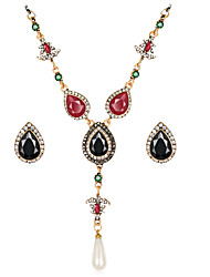 cheap -Jewelry Set Flower Luxury Vintage Bohemian Resin Rhinestone Gold Plated Earrings Jewelry Black / Green For Party Special Occasion / Imitation Diamond