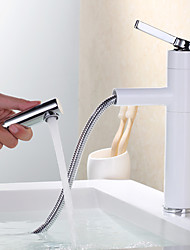 cheap -Modern Centerset Pullout Spray Ceramic Valve Single Handle One Hole Painting, Bathroom Sink Faucet