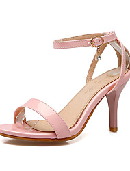cheap -Women's Sandals Stiletto Heel Open Toe Buckle Leatherette Comfort Spring / Summer / Fall White / Beige / Pink / Party & Evening / Party & Evening