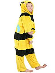 cheap -Adults' Kigurumi Pajamas Bee Onesie Pajamas Flannel Toison Yellow Cosplay For Men's Women's Animal Sleepwear Cartoon Festival / Holiday Costumes
