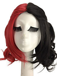cheap -suicide squad mdiuem length wavy black red mixed costume cosplay wig Halloween