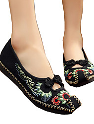 cheap -Women's Flats Espadrille Flat Heel Square Toe Flower Canvas Comfort / Novelty / Embroidered Shoes Walking Shoes Spring / Summer Black / Red