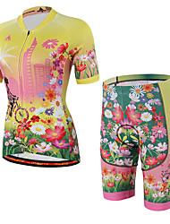 Недорогие -Муж. Жен. С короткими рукавами Велокофты и велошорты Желтый Цветочные ботанический Велоспорт Шорты Джерси Шорты с защитой Дышащий 3D / Эластичность / Горные велосипеды / Шоссейные велосипеды