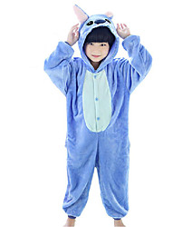 cheap -Kid's Kigurumi Pajamas Anime Blue Monster Onesie Pajamas Coral fleece Blue / Rose Cosplay For Boys and Girls Animal Sleepwear Cartoon Festival / Holiday Costumes / Leotard / Onesie / Leotard / Onesie