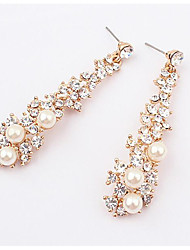 cheap -AAA Cubic Zirconia Drop Earrings Tassel Fashion Pearl Earrings Jewelry Gold For Daily