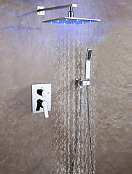 cheap -Contemporary Wall Mounted Rain Shower Handshower Included LED Ceramic Valve Two Handles Three Holes Chrome , Shower Faucet
