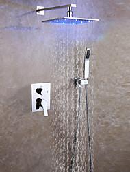 Недорогие -Современный На стену Дождевая лейка Ручная лейка входит в комплект LED Керамический клапан Две ручки три отверстия Хром , Смеситель для