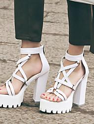 cheap -Women's Sandals Cross-Strap Sandals Chunky Heel / Block Heel Peep Toe Buckle PU(Polyurethane) Spring / Summer / Fall White / Black / Party & Evening / Party & Evening