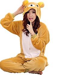 cheap -Adults' Kigurumi Pajamas Bear Onesie Pajamas Coral fleece Yellow Cosplay For Men and Women Animal Sleepwear Cartoon Festival / Holiday Costumes / Leotard / Onesie / Leotard / Onesie