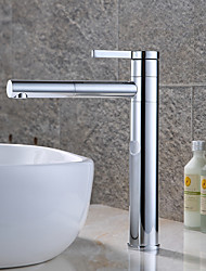 cheap -Contemporary Modern Centerset Rotatable Ceramic Valve Single Handle One Hole Chrome, Bathroom Sink Faucet
