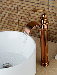 cheap -Bathroom Sink Faucet - Waterfall Rose Gold Centerset Single Handle One HoleBath Taps / Brass