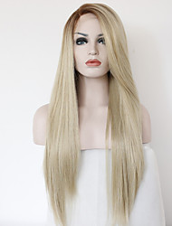 cheap -Synthetic Lace Front Wig Straight Straight Side Part Lace Front Wig Blonde Long Strawberry Blonde Synthetic Hair 24 inch Heat Resistant Blonde