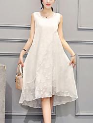 cheap -Asymmetrical Party Going out Street chic Asymmetrical Loose Dress Embroidered White, Ruffle Summer Silk White Black XL XXL XXXL