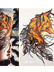 cheap -21-x-15-cm-yellow-fox-and-feather-cool-beauty-tattoo-waterproof-hot-temporary-tattoo-stickers