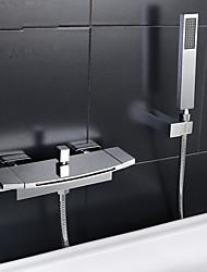 cheap -Bathtub Faucet - Contemporary Chrome Tub And Shower Ceramic Valve Bath Shower Mixer Taps / Two Handles Two Holes