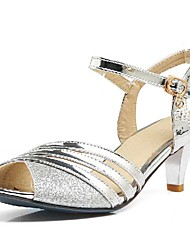 cheap -Women's Sandals Stiletto Heel Peep Toe Buckle PU(Polyurethane) Spring / Summer Gold / Black / Silver / Wedding / Dress / 2-3