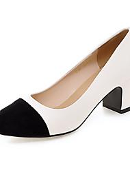 cheap -Women's Heels Chunky Heel / Block Heel Round Toe PU Spring / Summer Black / Almond / White / Dress / 2-3 / EU41